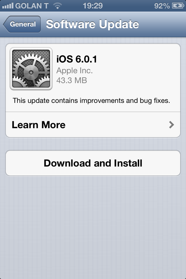 Apple Rolls Out iOS 6.0.1
